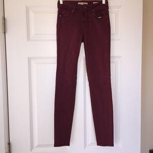 Bullhead (Aritzia) Crimson Denim Skinny Jeans Sz 0